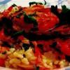 Friptură de pui cu sos de roşii şi garnitură de orez