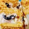 Prăjitură cu blat de biscuiţi, friscă si fructe