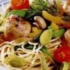 Curcan cu spaghete, legume şi ciuperci