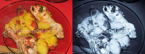 Pulpe de pui la tava cu garnitura de cartofi