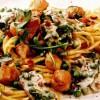 Spaghete cu file de pui si rucola