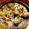 Cartofi şi legume coapte, cu şuncă