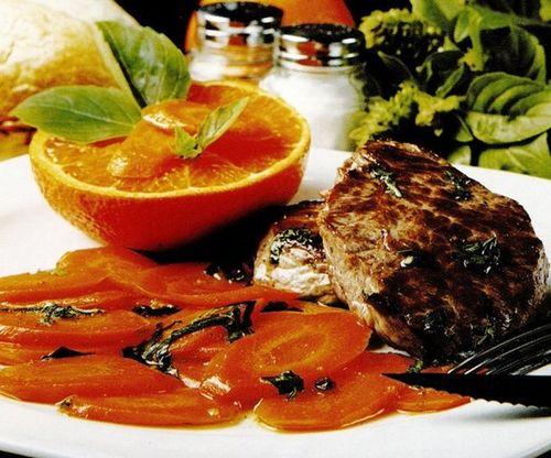Friptura de vita cu morcovi si suc de portocale