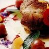 Foie gras la gratar cu cireşe şi caise