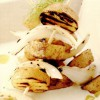 Frigărui de cartofi noi şi sos de gorgonzola
