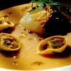 Supă deasă de fasole albă, merluciu şi tortelli cu ghimbir