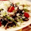 Lipie crocantă cu salată de crab şi vinete