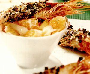 Creveţi in crustă crocantă cu andive şi portocală