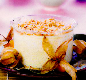 Pudding de orez cu nucă de cocos şi physalis