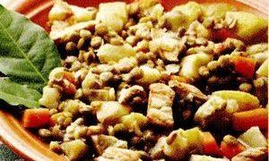 Mancare de linte cu carne afumata
