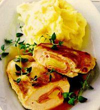 Piure de cartofi cu piept de pui umplut