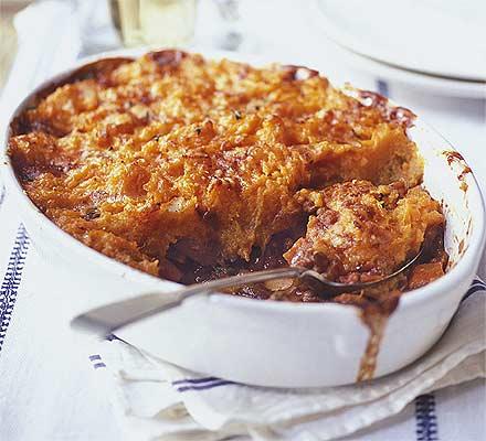 Plăcintă vegetariană cu piure de cartofi dulci