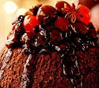 Desert de ciocolata cu sirop picant de fructe de padure
