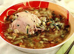 Supa din carne de gasca afumata