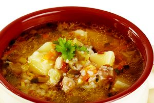 Supa de cartofi cu orez si albitura