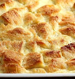 Budinca de paine cu branza de capra