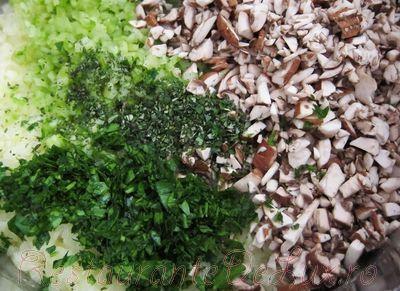 Budinca de ciuperci cu legume si verdeata