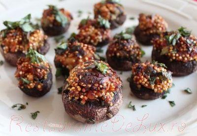 Ciuperci umplute cu quinoa