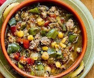 Supa de legume cu carne de carnati si parmezan