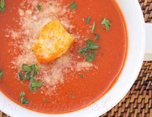 Supa de rosii cu parmezan si busuioc