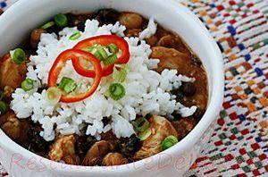 Piept de pui in sos iute cu orez