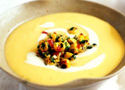 Lemongrass and sweetcorn soup with creme fraiche