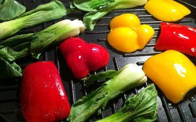 Muschi de vita la gratar cu legume si orez