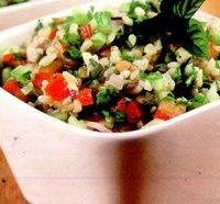 Tabouleh de quinoa cu creveti
