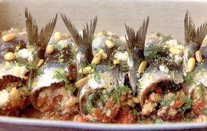 Sardine umplute cu seminte de pin, fenicul si verdeturi