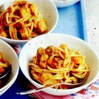Spaghete_cu_dovleac_ciuperci_si_mazare