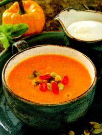 Supa-crema de dovleac cu chimen si sos de soia