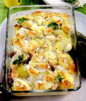 Cartofi gratinati cu ou si cascaval