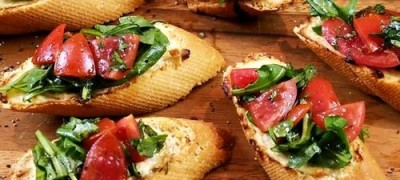 Cheese and olive bruschetta