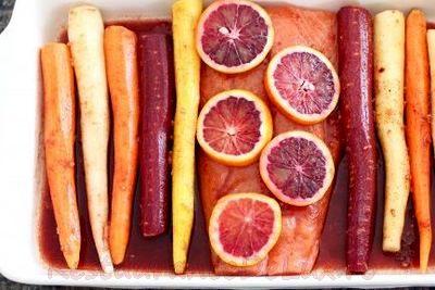 Somon in glazura de portocale