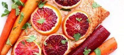 Somon cu glazura de portocale