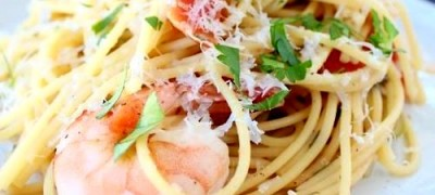 Spaghete cu creveti si usturoi