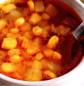 Supa de pui cu porumb si coniac