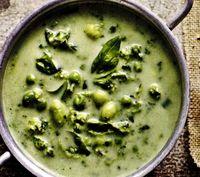 Supa de spanac cu mazare si soia