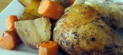 Roast chicken with apricots
