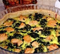 Quiche cu somon, broccoli si spanac