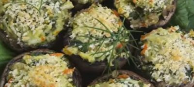 Crab and chestnuts stuffed mushrooms