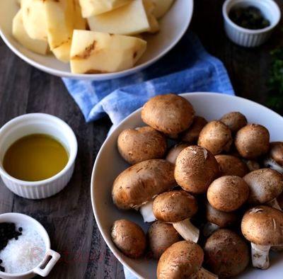 Cartofi cu ciuperci si ceapa