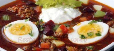 Supa de legume cu oua ochiuri