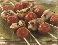 Chicken kebabs with apricots