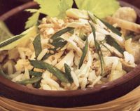 Rice salad with groundnut oil