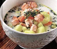 Supa cu somon afumat