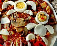 Ciuperci cu oua si carne